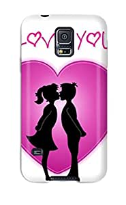 I Love You Girl Boy Kissing Heart Pink White Black Hearts Romantic Vday Red February Lovers Valentin Holiday Valentines Day Case Compatible With Galaxy S5/ Hot Protection Case