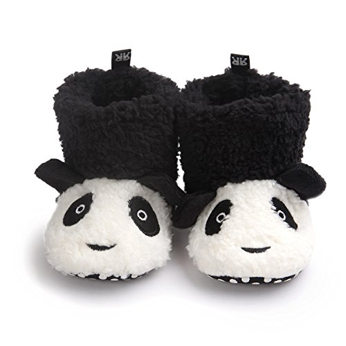 TRUEHAN Baby Girls Boys Newborn Infant Animal Super Warm Soft Fleece Slippers Booties with Grippers for 0-24 Month (0-6 Month, Black Panda) ()