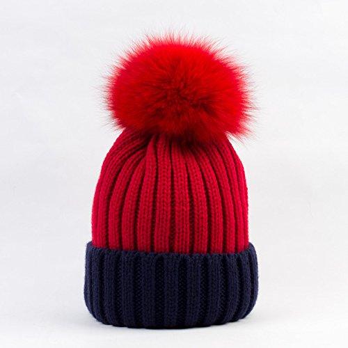 QETUOAD Winter Frauen Hut Lässige    Gestrickte Patchwork Skullies Beanies Mit damenpon Hüte B07D76B5B8 Bekleidung Liste der Explosionen