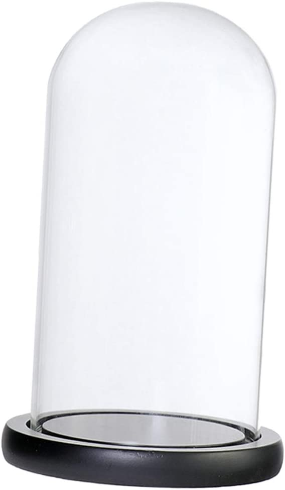 Bóveda De Cristal De La Cubierta del Soporte De Exhibición del Ornamento LED De La Flor del Paisaje LED con La Base De Madera - Negro D