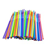 10 Inch Extra Long Colorful Flexible Bendy Party Disposable Drinking Straws,Pack of 100