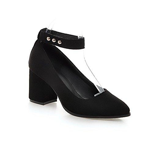 Solid Musta Himmeä kengät Korkokengät Suljetun Tarrakiinnitteisille Naisten Muistutti Toe Allhqfashion Pumppuja qvx0pPw6