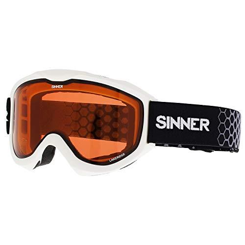 SINNER Lakeridge Snow Goggles One Size Matte White ~ Double Orange (Sinner Goggles)