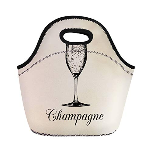 (Semtomn Lunch Tote Bag Champagne Glass Sketch of Spumante Alcoholic Drink White Sparkling Reusable Neoprene Insulated Thermal Outdoor Picnic Lunchbox for Men Women)