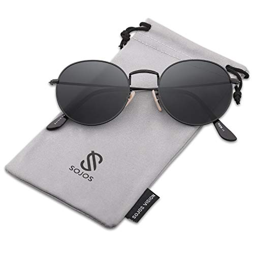 SOJOS Small Round Polarized Sunglasses Mirrored Lens Unisex Glasses SJ1014 3447 with Black Frame/Grey Polarized Lens