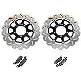 FidgetGear Pair Front Brake Discs Rotors + Pads for Kawasaki Ninja 650R ER-6F ER-6N 06-10