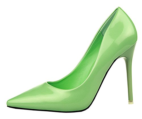 Four Paws Vita Greens (T&Mates Womens Sexy Pointy Toe Stiletto Pumps Slip-on Dress High Heels Basic Shoes for Party Wedding (5.5 B(M) US,Green))