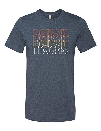 Tiger Detroit Retro 3001 Premium Crewneck T-Shirt Slogan Humorous Heather Navy Large