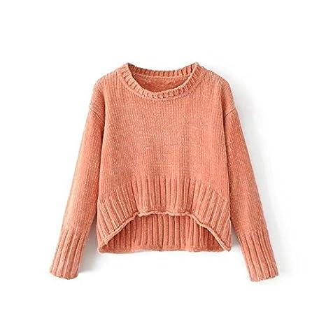 c58bcdb312ab72 Pullover Damen T-Shirts Kurz Kurz Vordere Lange Europäische Damen Oberteile  Strick: Amazon.de: Sport & Freizeit