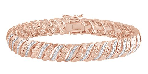 Round Cut White Natural Diamond Wave Tennis Bracelet In 14k Rose Gold Over Sterling Silver (0.25 cttw) - 8.5