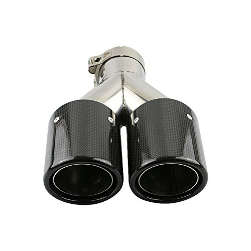 JzzCozma 2.5 inch Car Carbon Fiber Dual Exhaust Pipe Stainless Steel Muffler Tip - Gloss (Carbon Exhaust Pipe)
