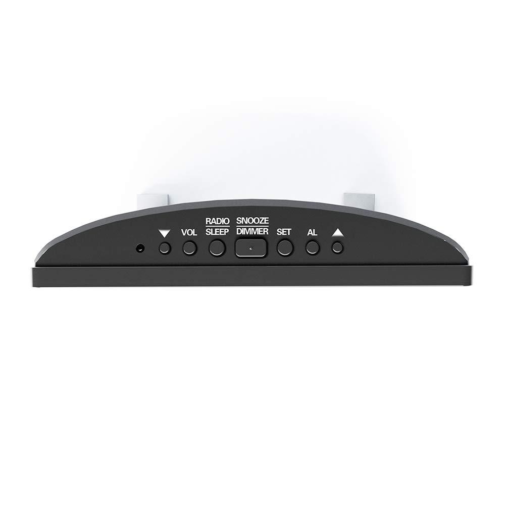 White Display Digitale Ultra Chiaro Sveglia a Specchio Schermo Radio FM Orologi da scrivania per Camera da Letto e Ufficio Houkiper Sveglia Digitale