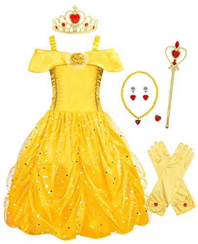 - AmzBarley Belle Dress for Girls Princess Costume Halloween Fancy Party Cosplay Outfit Deluxe Beauty Kids Dress up Clothes with Accessories Size 9-10 Years