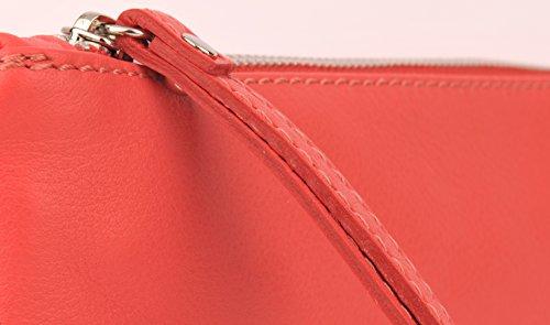 Echt Leder Tasche Handtasche Kosmetiktasche Ledertasche Pochette Clutschtasche rot