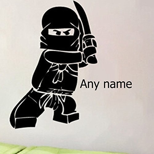 Personalized Name Ninjago Lego Vinyl Wall Decal Sticker For Kids Boy Rooms Ninga Children's Room Wall Stickers Home Decor (-Select Your Favored Color from 'Color Card'-, 56x40cm)