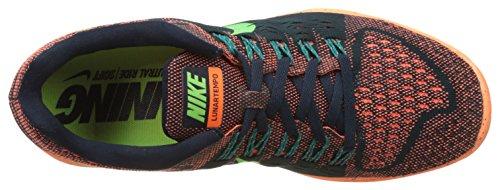 Lunar Tempo de los zapatos corrientes Dark Obsidian/Voltage Green