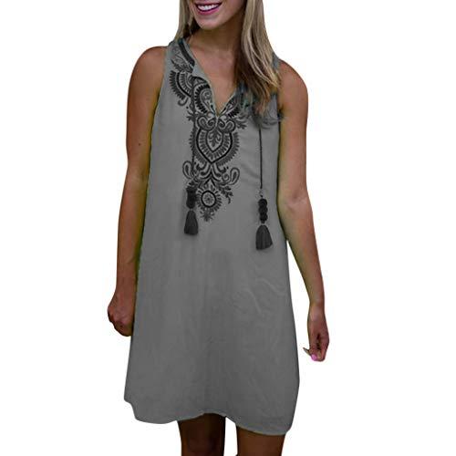 TOTOD Mini Dress for Women Casual Sleeveless Retro Print Vintage Loose Beach Party Tank Dress Gray