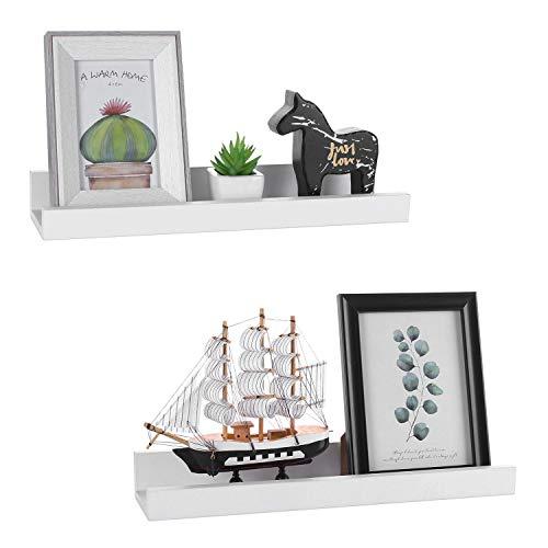 (Halcent White Picture Ledge Shelf Multi-Use Wood Floating Wall Shelf Photo Ledge Kids Bookshelf Wall Display Shelf (2 Pack))