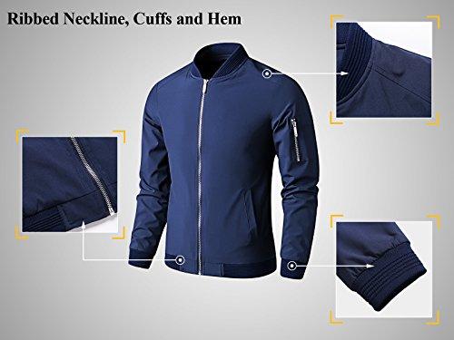 LTIFONE Mens Casual Jacket Zip up Lightweight Bomber Flight Sportswear Jacket Windbreaker Softshell with Ribbing Edge(Blue,L) by LTIFONE (Image #3)