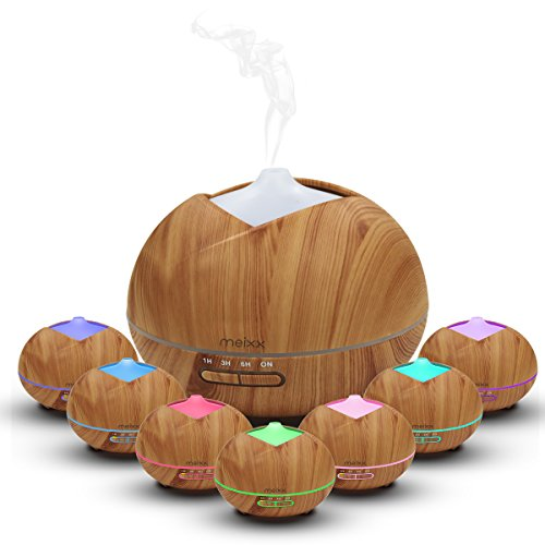 Meixx Ultrasonic Essential Oil Aroma Diffuser, Cool Mist Humidifier and Purifies Air for Office Home Bedroom Room Study Yoga Spa,Timer and Waterless Auto-Off, 7 LED Light Colors - Wood Grain (400ml)