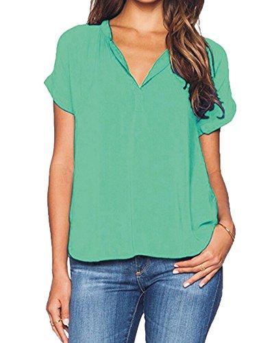 Casual Corta Tinta Elegante Donna Colletto Camicia Manica S Verde Signora Unita Loose V Chiffon 6XL Top Elastica OL Camicetta a RqqOwCxv