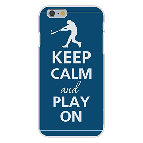 Apple iPhone 6 Custom Case White Plastic Snap On - Keep Calm and Play On Baseball Swing - Infield Grass