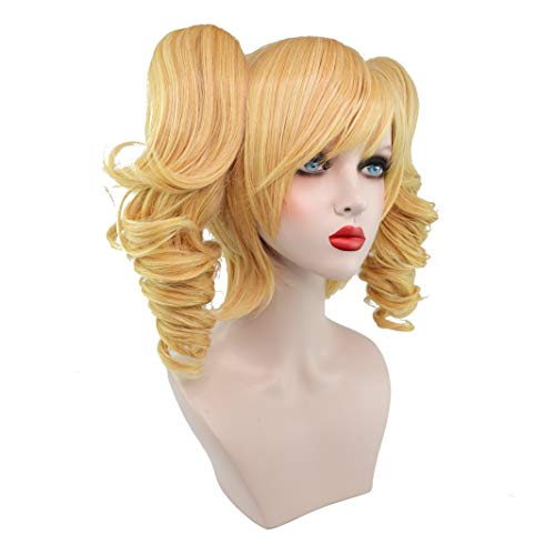 CrazyCatCos Harley Quinn Wig Arkham City Harley Quinn Cosplay Golden Yellow Wig Halloween Costume Wig]()