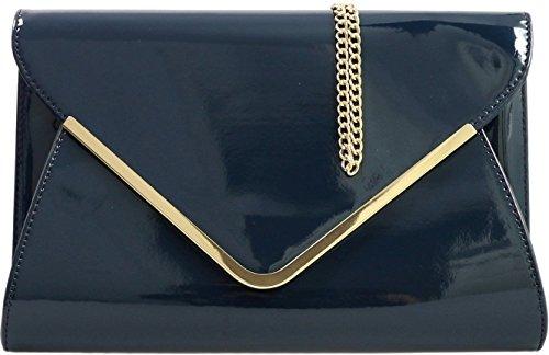 Navy Formal Envelope Clutch amp;G New Ladies Evening H Patent Prom Lilac Bag 4FSawqP