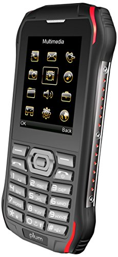 Plum Ram 6 – Rugged Unlocked Cell Phone GSM Shock Water Proof IP 68 Certified Military Grade Camera Flash Light FM Radio Bluetooth SD Card Slot Dual Sim – Black/Red