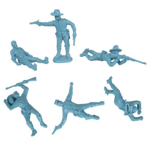 (Civil War Dismounted Cavalry with Casualties Plastic Army Men: 12 piece set of LIGHT BLUE 54mm Figures - 1:32 scale)