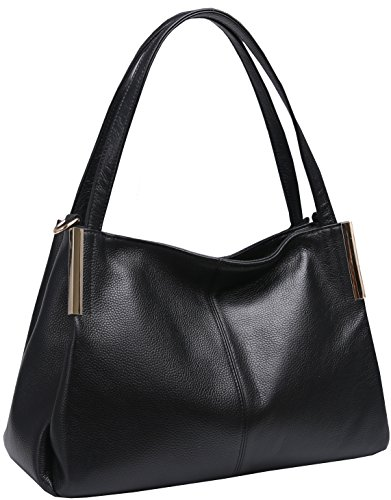 Heshe Women's Leather Handbags Top Handle Totes Bags Shoulder Handbag Satchel Designer Purse Cross Body Bag for Office Lady (Black-R)
