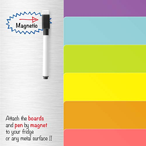 Pack of 6 Coloured Squares Magnetic Whiteboards that stick to a  Refrigerator By CKB Ltd Dry Wipe Planner Magnet Signage Sheet With Marker &  Pen