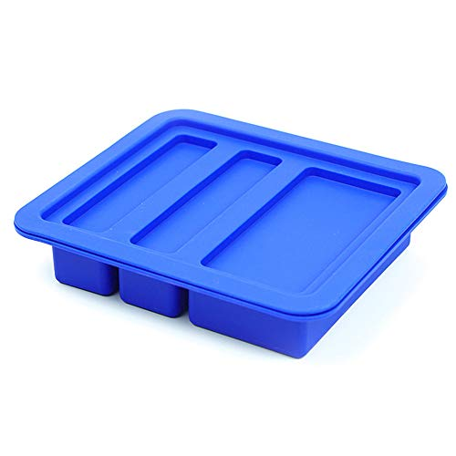 Blue Large 3 Cavities 2 Sizes Gourmet Silicone Butter Mold with Lid Rectangle Tray for Soap Bar,Energy Bar, Muffin, Brownie, Cornbread,Cake, Pudding by X-Value ()