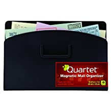 Quartet Magnetic Mail Organizer Storage Pouch, 10 x 7 Inches, Black (48123-BK)