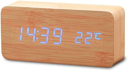 lcyyo @ Creative Sound Control Digital de Madera Led reloj despertador reloj de mesa con tiempo temperatura calendario pantalla & cable de carga para sala ...