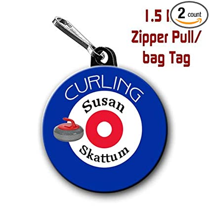 Buttons By Doug Personalized Curling Zipper Pulls Bag Tags 2 Pack 1 5 Inch Charms