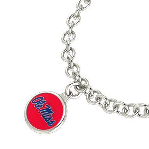 University of Mississippi OLE MISS Rebels Sterling Silver Jewelry and Enamel Charm Bracelet. ()