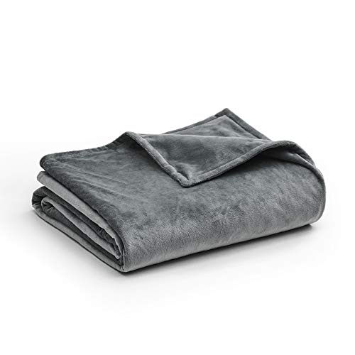 YnM Minky Duvet Cover for Weighted Blankets (80''x87'') - Dark Grey Print