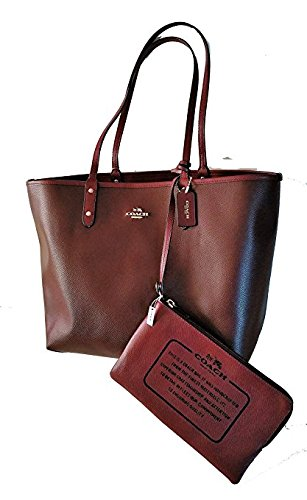Burgundy Coach PVC F36609 Reversible Signature City Tote wwB1fgqx
