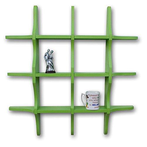 BM WOOD FURNITURE Wooden Wall Shelves | Wall Shelf for Living and Bedroom Decor | Globe Shape | Green
