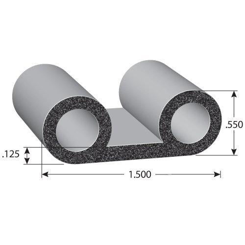 """Trim Lok Round Rubber Lid Seal – EPDM Foam Rubber Seal with BT 3M High Strength Tape – Double Bulb Lid Seals for Truck Beds Caps Truck Lids or Camper Shells – .5"""" Height 1.5"""" Width 25' Length"""