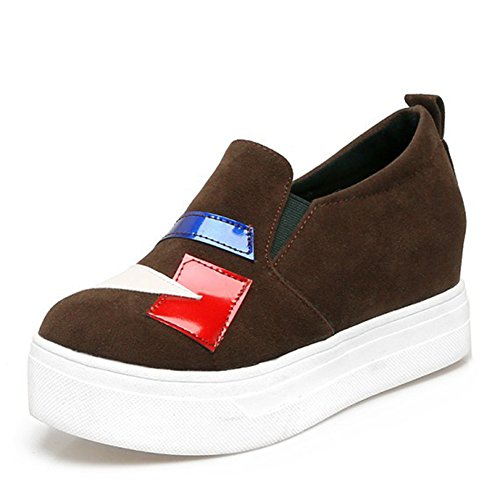 Easemax Womens Fashion Faux Suede Stitching Elastic Platform Hidden Heel Sneakers Brown Af4NvSCz