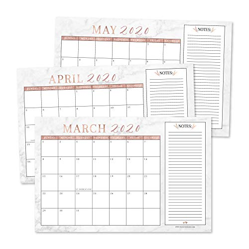 """Rose Gold Marble 2020-2021 Large Monthly Desk or Wall Calendar Planner, Big Giant Planning Blotter Pad, 18 Month Academic Desktop, Hanging 2-Year Date Notepad Teacher, Family or Business Office 11x17"""""""