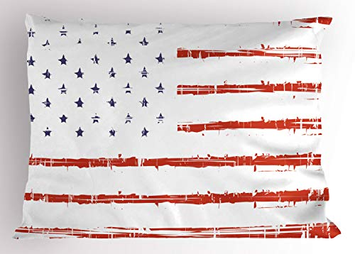 - Ambesonne American Pillow Sham, Vector Grunge Texture Flag of United States of America Illustration, Decorative Standard Size Printed Pillowcase, 26
