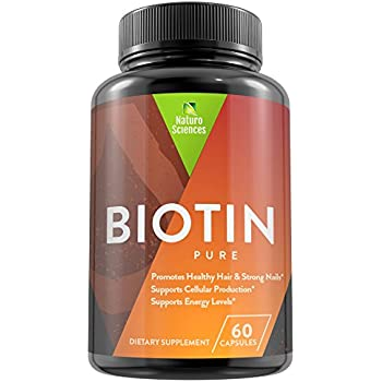 Pure Biotin High Potency 10,000mcg Dietary Supplement By Naturo Sciences - Promotes Healthy Hair & Strong Nails - Supports Cellular Production - Boosts Energy Levels – 60 Capsules Made In The USA