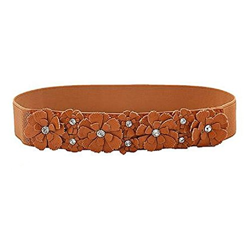(Redriver Girls Rose Flower Wrist Belt Synthetic leather Elastic Stretch Dress Narrow Waist Band (Brown))