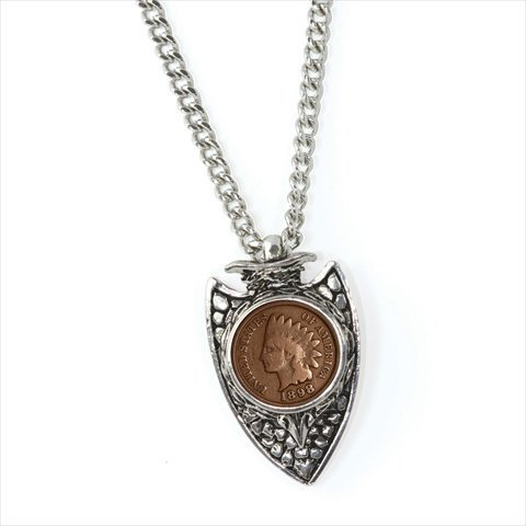 (American Coin Treasures 1800s Indian Cent Arrowhead Men's Pendant Necklace)