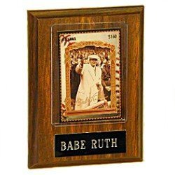 Nameplate Engraved Optional - Babe Ruth Engraved Wooden Plaque. Engraved name plate with Babe Ruth baseball card in a protective plastic display case.