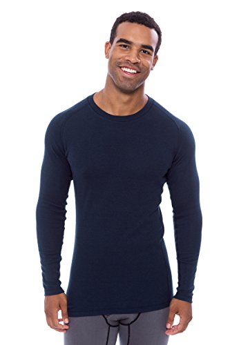 Men's Long Sleeve Base Layer - Undershirt in Bamboo Viscose by Texere (Dirann, Midnight Blue, XX-Large) Basic Active Top for Outdoor Sports - Basics Bamboo
