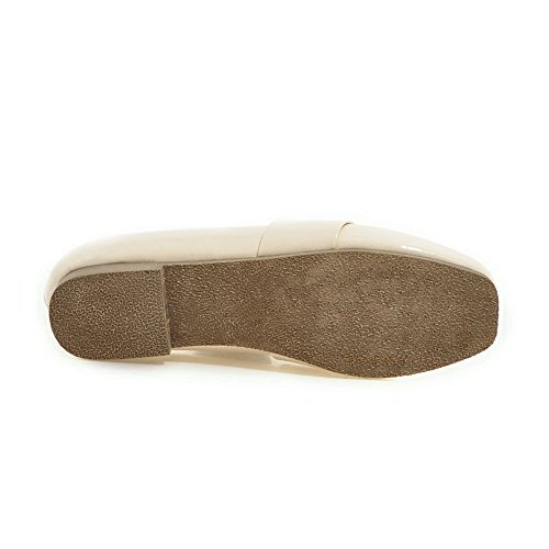 BalaMasa Ladies Pull-On Square-Toe Solid Urethane Flats-Shoes Beige osQwPgHD6